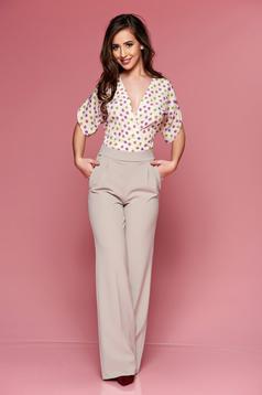 PrettyGirl cream elegant jumpsuit with short sleeve
