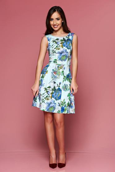 LaDonna green sleeveless dress with floral prints