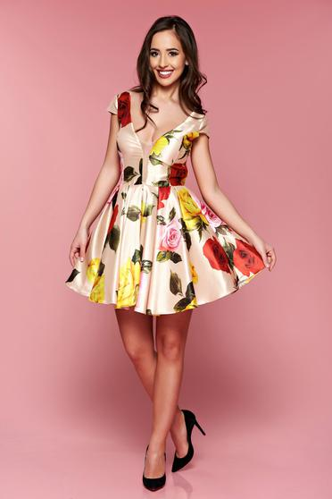 Artista cream cloche dress with a cleavage with satin fabric texture