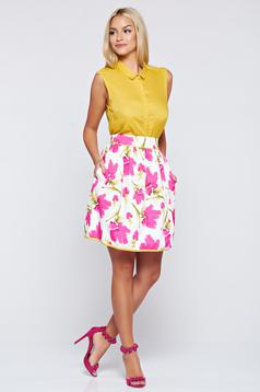 Fofy white cloche skirt with floral print
