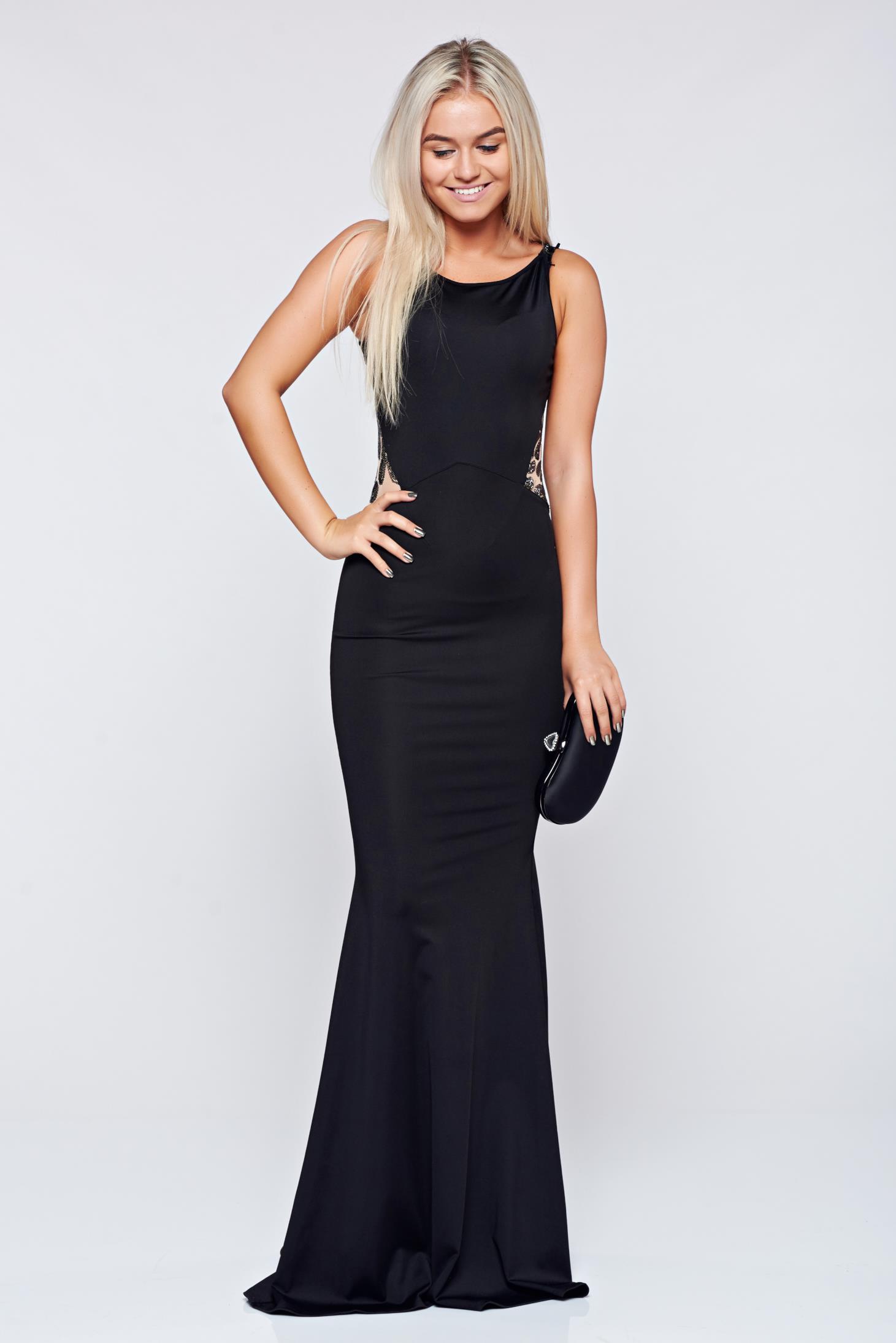 Fekete Fofy hosszú ujjatlan estélyi ruha 46a6f93a64