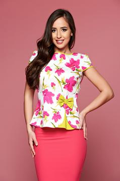 Fofy white women`s blouse with floral print and short sleeve