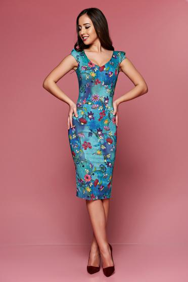 Fofy blue pencil midi dress with floral prints