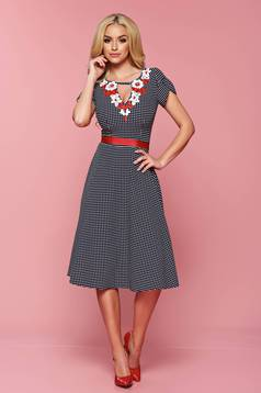 LaDonna darkblue dress with dots print and v-neckline
