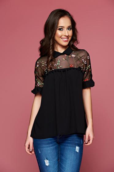 Black embroidered airy fabric women`s blouse with ruffled sleeves