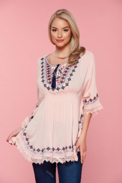 Peach embroidered easy cut women`s blouse with elastic waist