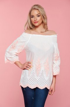Peach embroidered easy cut cotton women`s blouse