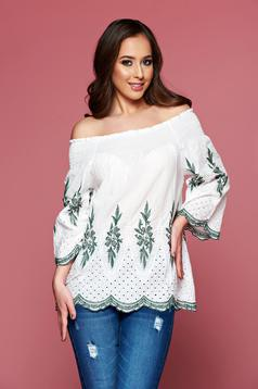 Green embroidered easy cut cotton women`s blouse