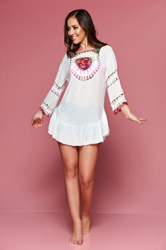 White embroidered beach wear easy cut cotton dress