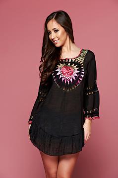 Black embroidered beach wear easy cut cotton dress
