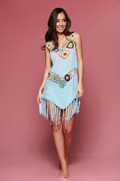 Lightblue embroidered beach wear asymmetrical cotton dress