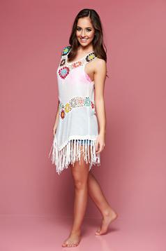 White embroidered beach wear asymmetrical cotton dress
