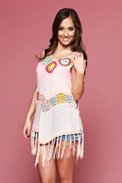 Peach embroidered beach wear asymmetrical cotton dress