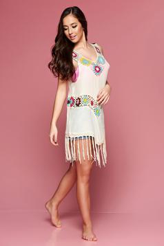 Cream embroidered beach wear asymmetrical cotton dress