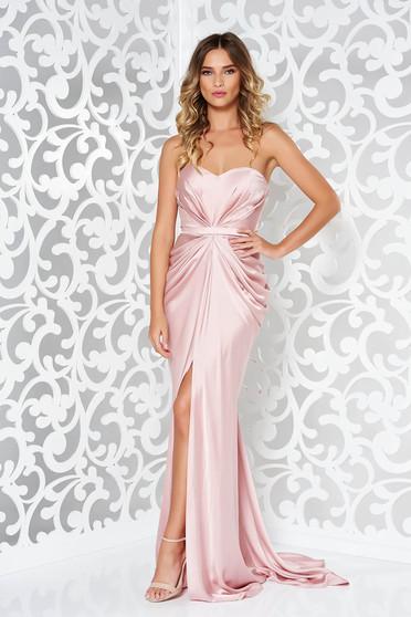 Ana Radu asymmetrical rosa dress with push-up bra from wrinkled fabric