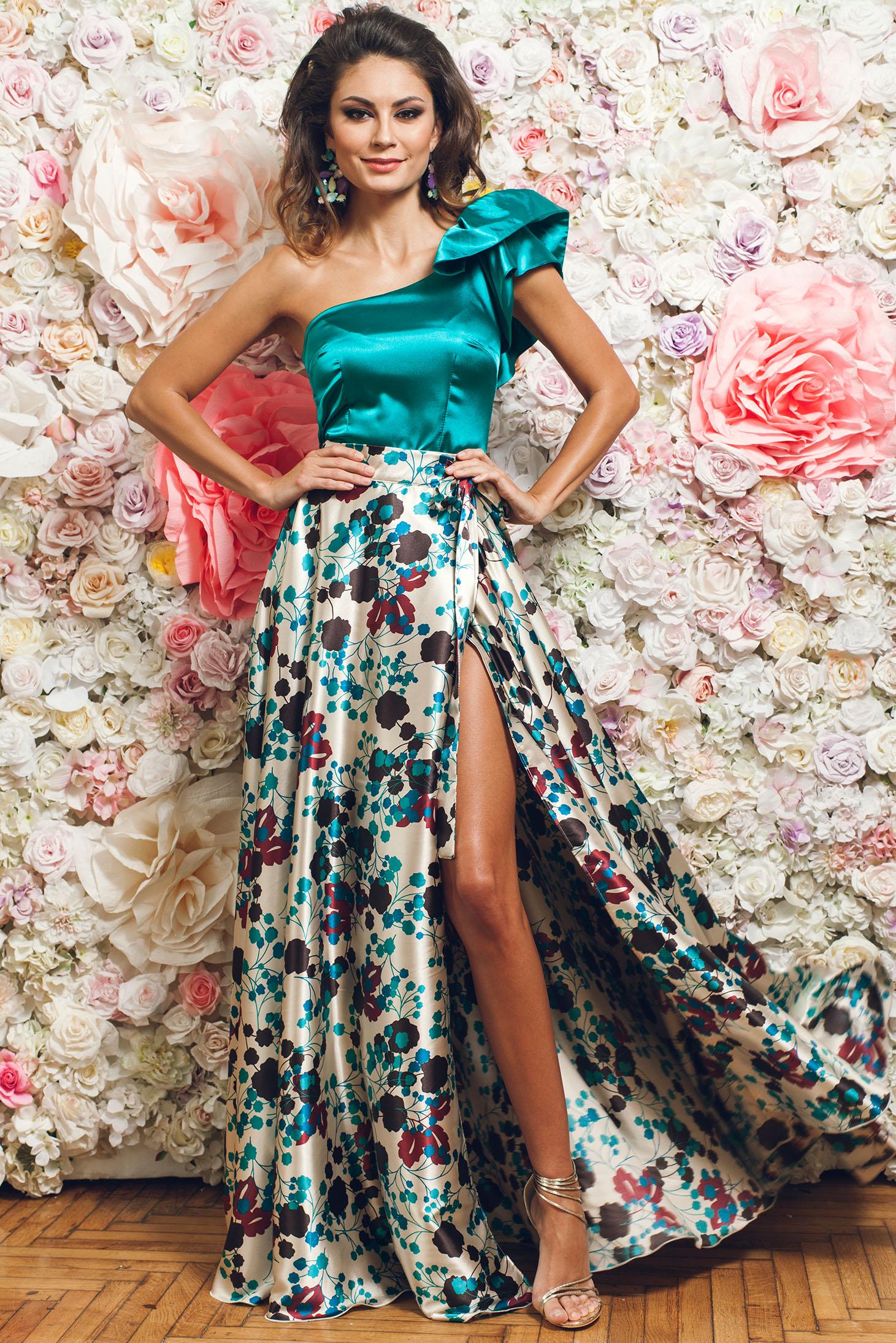 Krém PrettyGirl elegáns hosszú szoknya szatén anyagból f5c1a8d613