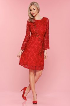 PrettyGirl embroidered red laced dress bell sleeve