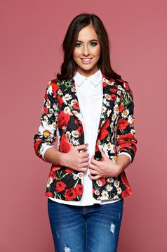 Artista black tented jacket with floral print