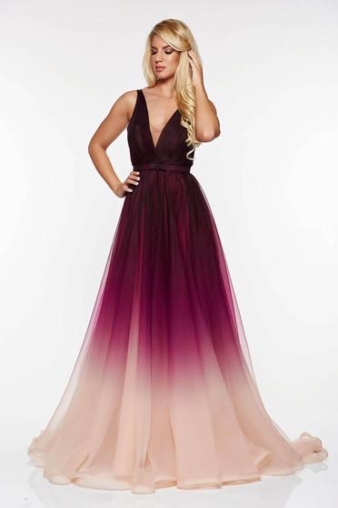 Ana Radu long purple evening dress with v-neckline
