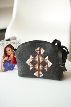 Darkgrey embroidered bag with long, adjustable handle