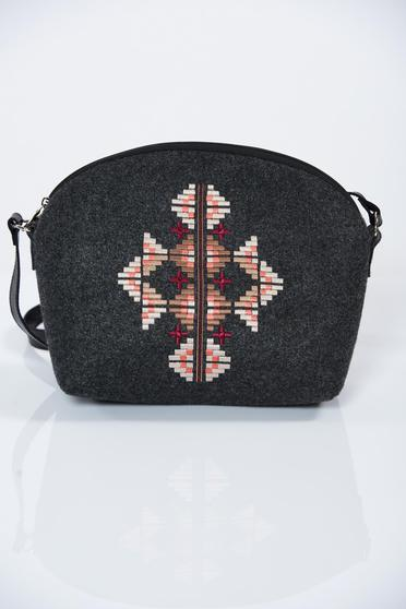 Darkgrey embroidered bag with long, adjustable handle