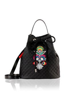 Black embroidered bag with long, adjustable handle