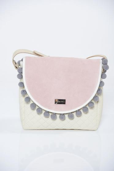 Cream bag with tassels and long, adjustable handle