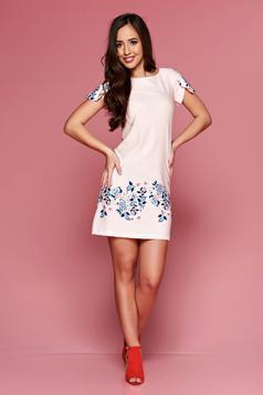 LaDonna peach easy cut dress with floral prints dots print