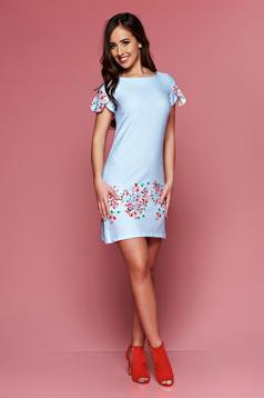 LaDonna lightblue easy cut dress with floral prints dots print