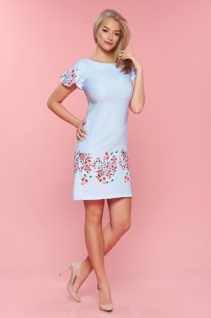 LaDonna lightblue easy cut dress with floral prints dots print