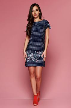 LaDonna darkblue easy cut dress with floral prints and dots print