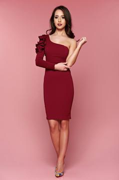 One shoulder LaDonna occasional burgundy pencil dress