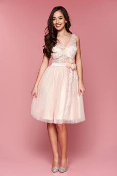 LaDonna peach occasional laced embroidered cloche dress