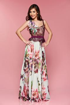 LaDonna purple occasional long laced dress with floral print