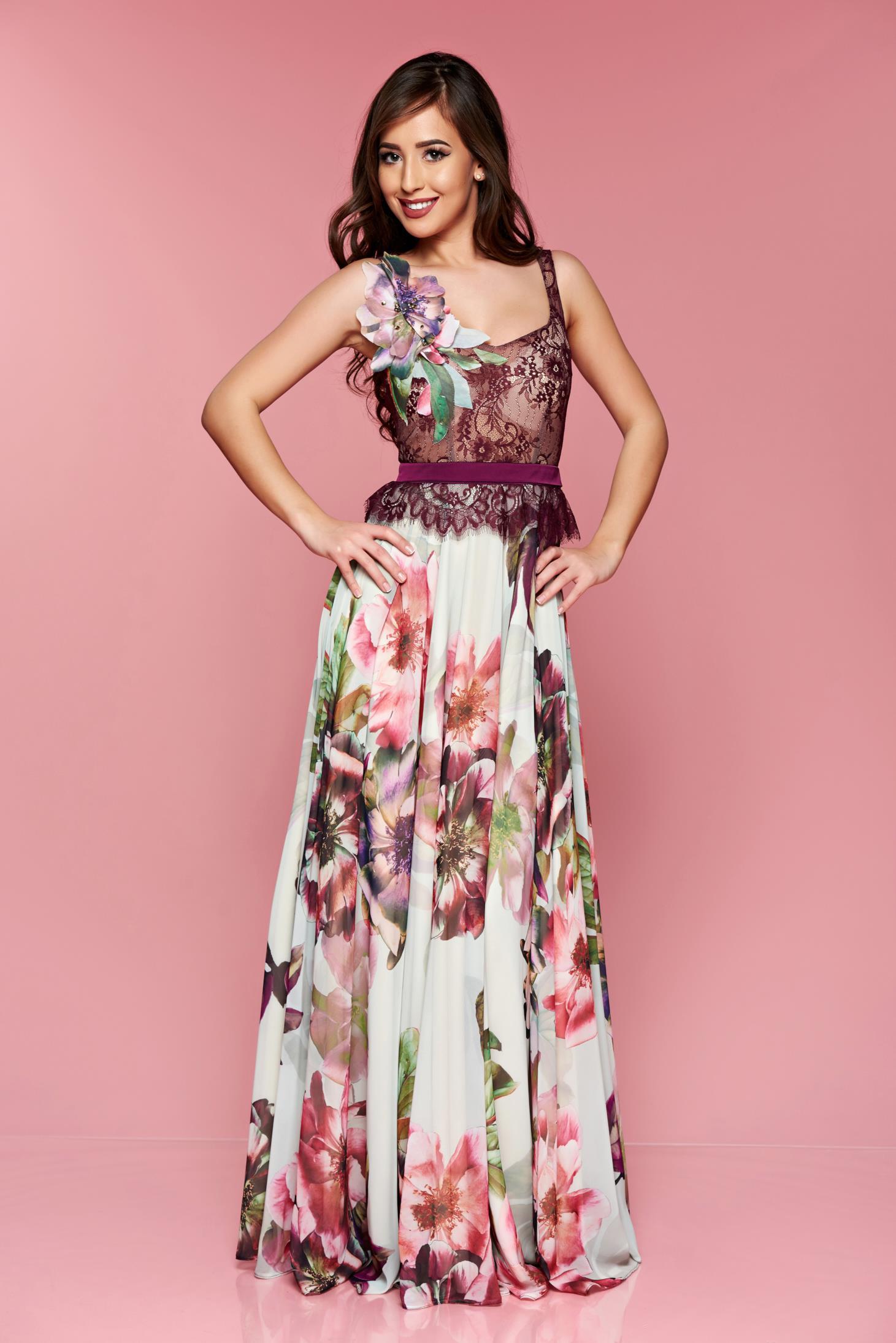 a3673aa743 Lila LaDonna virágmintás alkalmi ruha hosszú csipkés anyagból