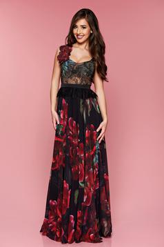 LaDonna black dress occasional long laced with floral print