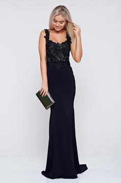 LaDonna black embroidered occasional long dress with a cleavage