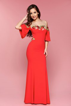 LaDonna red dress occasional long bell sleeves embroidered