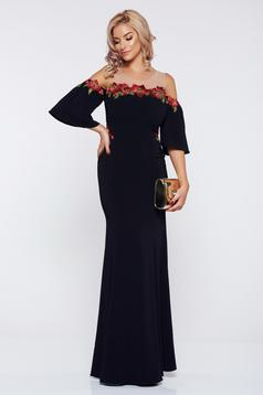 LaDonna black dress occasional long bell sleeves embroidered