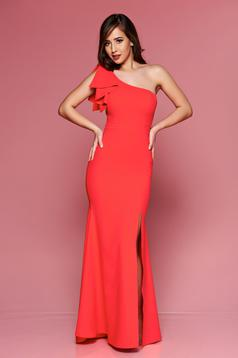 LaDonna red long occasional dress one shoulder