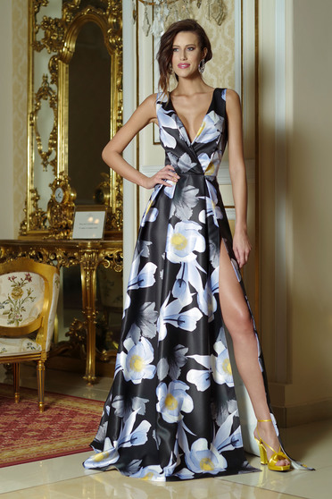 Artista black long cloche dress with floral print