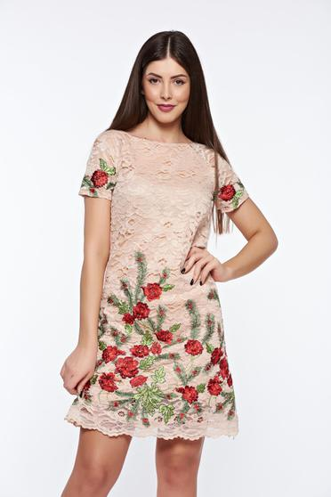 Artista cream laced embroidered dress
