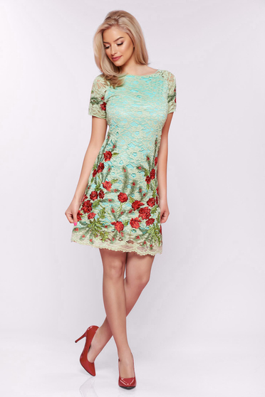 Artista lightgreen laced embroidered dress