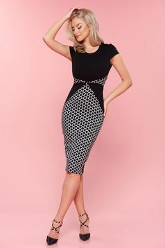 StarShinerS black office midi pencil dress with short sleeve