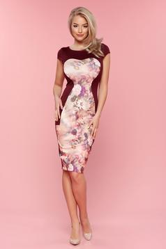 StarShinerS burgundy pencil dress with floral prints