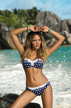 Darkblue swimsuit with dots print