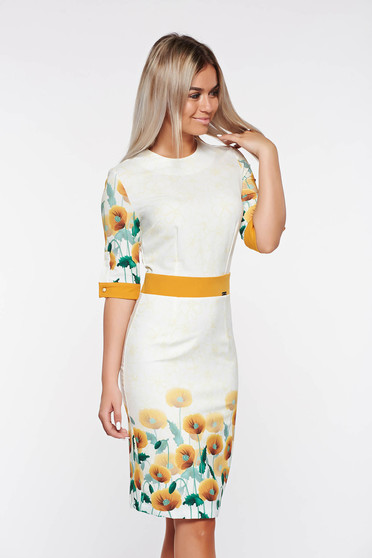 PrettyGirl yellow pencil dress with floral print and 3/4 sleeve