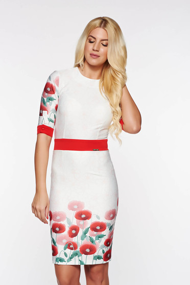 PrettyGirl red pencil dress with floral print 3/4 sleeve