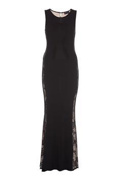 PrettyGirl black long evening dresses mermaid dress laced fabric