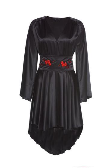 PrettyGirl black elegant asymmetrical dress bell sleeve